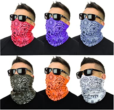 AMACA Multi-Purpose Face Cover-Neck Gaiter-Bandana with Filters-20 Pack Men//Women